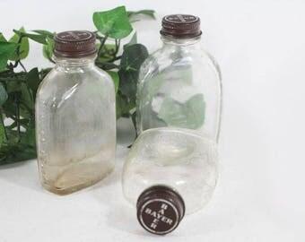 Bayer Aspirin Bottles, Vintage Bottle, Display Bottle, Medicine Bottles