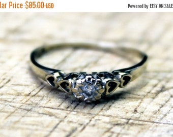 ON SALE Vintage Ladies Diamond Solitaire Engagement Ring Hearts 9k 9kt 375 Carat FREE Shipping Size K / 5.25