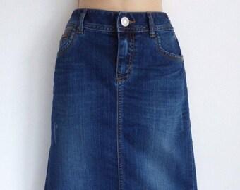 Vintage Denim TOM TAILOR High Waist Straight Knee Length Pencil Jean Ladies Skirt Size UK12  / 30 in
