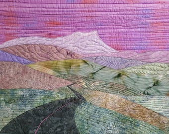 Mountain Valley/ landscape/art quilt/vermont/art/camels hump