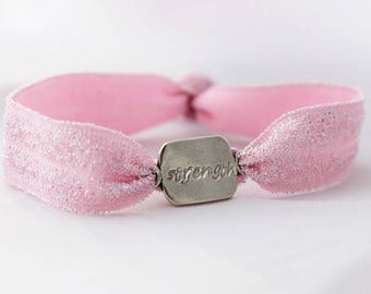 strength word of the year bracelet, pink and silver shimmer bracelet, inspirational gift for her, intentional goal, malisay designs