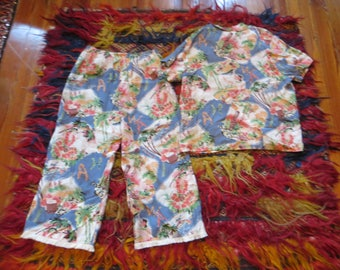 90s Does 40s Hawaiian Beach Pajamas