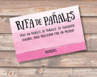 Diaper Raffle Spanish Rosado Rifa de Pañales Tarjetas Baby Shower Niña Pink Ombre Sorteo Boletas Rifa Pañales - INSTANT DOWNLOAD