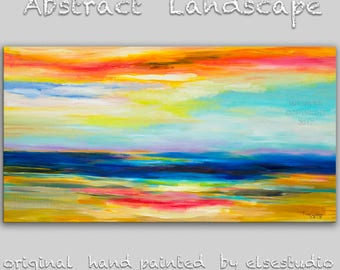 "Original oil Painting Sunset Art Abstract Painting 48"" Canvas  Surreal Landscape Wall Decor Modern Home Deco, Wall Hanging,  by Tim Lam"
