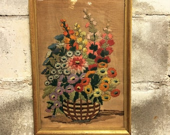Vintage Needlepoint Crewel Embroidery Framed Antique Floral Chic