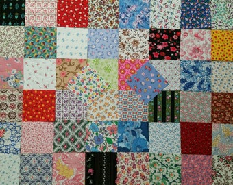 50 Assorted 3 inch Squares of Vintage Cotton and Feedsack Fabrics All Florals Set 6