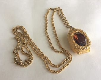 Vintage Goldette Locket with Amber Rhinestone