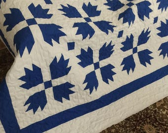 Quilt Bears Paw/Goose Tracks Blue and White Queen Made to Order