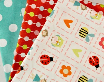Alphabet Soup Girl 3 Fabric Half-Yards Bundle by Zoe Pearn for Riley Blake, 1 1/2 yards total