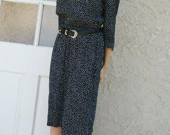 1980s 1990s Vintage Black and White Polka Dot Midi Dress with 3/4 Sleeves