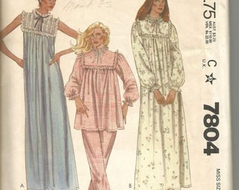 1980s Misses Nightgown Robe Pajamas Sleeve Variations Yoke McCall's 7804 Uncut FF Sz Small 10-12 Bust 32.5-34 Women's Vintage Sewing Pattern
