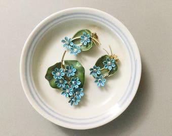 Rhinestone earrings, enamel flower set, rhinestone brooch, vtg earrings, rhinestone flower set, enamel flower brooch, rhinestone flowers