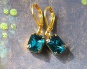 Czech Blue Zircon Crystal and Gold Earrings, 18th century style jewelry