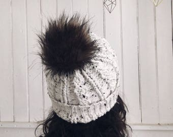 Speckled Cable Hat with Fur Pompom