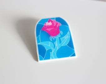 Beauty and the Beast Rose Stained Glass Shrink Plastic Pin