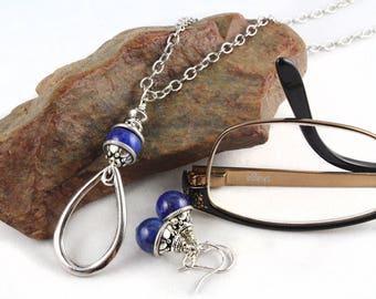 Gemstone Earrings, Eyeglass Holder, Eyeglass Necklace, Eyeglass Loop, Eyeglass Lanyard, Eyeglass Chain, Eyeglass Necklace, Necklace Set