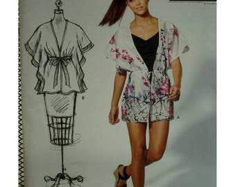 Open Sleeve Top Pattern, V-neck, Tie/Drawstring Waist, Below Hip Length, Project Runway, New Look No. 6126 UNCUT All Sizes
