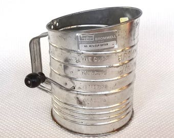 Large Vintage Bromwell's 5 Cup Measuring Sifter with Crank Handle Model No. 40 Made in Michigan City, Indiana USA Large Sifter