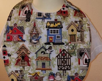 Bird House themed baby bib...Waterproof with a side snap.