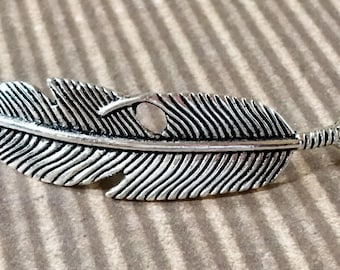 Feather Bracelet Connector Silver Curved Pewter