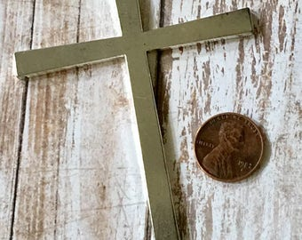 Cross Rustic Antiqued Silver Large Pewter Pendant