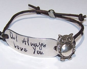 Owl Always Love You Distressed Brown Leather Cord Bracelet or Personalize - Your Choice of Words, Hand Stamped, Metal Stamped, Adjustable