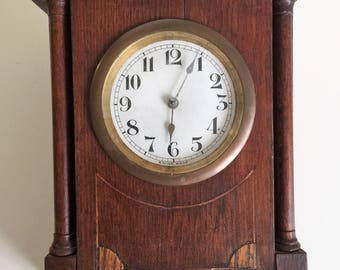 mid century mantle clock swiss made solid wood vintage wind clock swiss made swiss