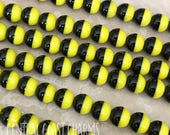 Czech Glass Smooth Round Druk Beads - 6mm - Opaque Black Yellow (25) Bohemian Art Deco Bumble Bee Boho Pressed Glass - Central Coast Charms