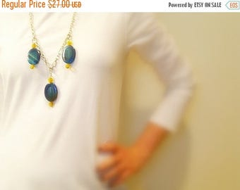 CIJ SALE Blue Agate Necklace, Yellow Glass Beads, Bold Bohemian, Chunky Silver Metal Chain, Lobster Clasp