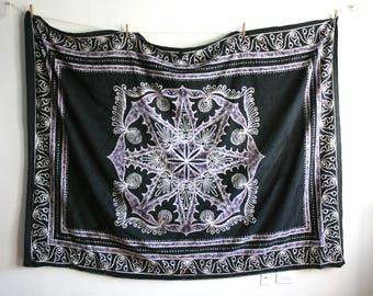 Indian Cotton Black Lavender Throw