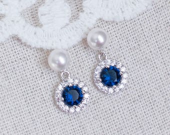 Blue Sapphire Bridal Earrings, Sapphire Bridal Earrings, CZ Blue Sapphire Pearl Stud Earrings, Round CZ Swarovski Pearls Stud Earrings