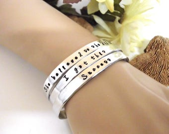 Cuff Bracelet, Handstamped Bracelet, Mantra, Inspirational Jewelry, Stacking bracelets, Inspirational Words, Affirmation Jewelry
