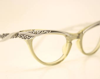 Small cat eye glasses vintage 1950s eyewear cateye frames