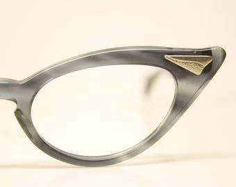 Unused Gray Pointy Vintage Cat eye glasses cat eye frames NOS