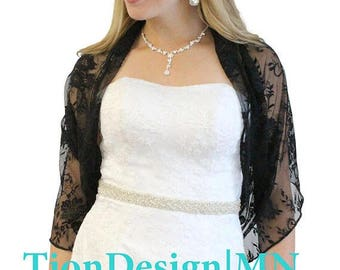 Summer Sale Black Lace Shrug, Bridal Lace Shawl, Prom Scarf, Coctail Cover Up 3139-BLK