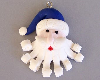 "Santa face pendant, polymer clay charm, Christmas jewelry supply, winter theme, 2"" tall x 1 5/8"" wide"