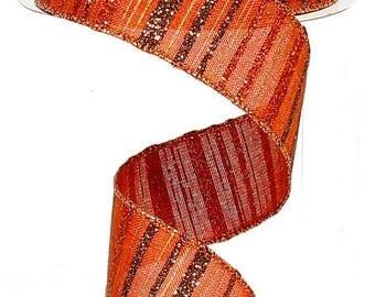SUPPLY SALE 1.5 Inch Copper Brown Copper Burlap Glitter Strip Ribbon RX3873Gg, Deco Mesh Supplies