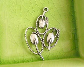 20 silver abstract flower tulips charms pendants tulip flowers flowering branches plant mother nature 40mm x 26mm - C0710-20