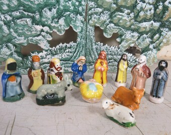 Vintage French Christmas Nativity Set, 12 Pieces, Miniature Feve Figurines, Holiday Manger Scene Decor