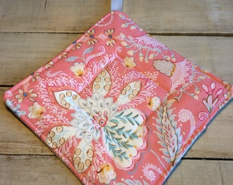 Pot Holder, Hot Pad, Potholder, Fabric Pot Holder, Fabric Hot Pad, Oven Potholder, Oven Hot Pad, Kitchen Potholder-Pink Floral with Gray