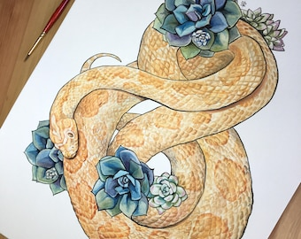 ORIGINAL Corn Snake and Succulents Painting 11x14 inches
