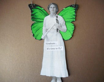 Mixed Media hanging angel fairy altered photo vintage photo come fly with me wings