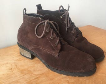 Vintage 90s Brown Suede Ankle Boots, Women's Boots, Leather Booties, Lace Up Boots, 90s Boots, Heel Boots, Size 11.5