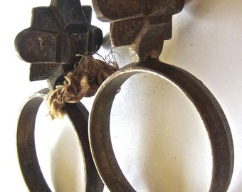 Unusual Art Deco Solid Brass Curtain Rings - DIY Assemblage Mixed Media Jewelry Pendant Supply