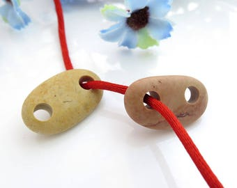Beach Stone Connectors- Organic Beads-Jewelry supplies Double Drilled Pebbles for Bracelets DIY Big Hole
