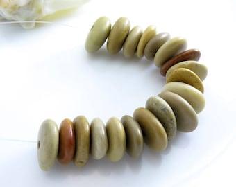Center Drilled Beach Stones Medium Roundish Donut Pebbles 20 pcs -Organic Eco friendly Beads -Jewelry Supplies