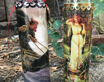 Norse Deities 7-Day Candles - Thor & Freyja (Heathen Viking Asatru Gods Germanic)
