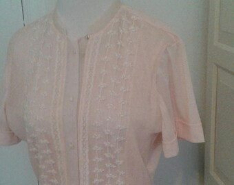 "ON SALE 50s Pale Pink Blouse, Semi Sheer, Tulle, Embroidered, Peplum, by Jo-Lyn, Size Medium, 38"" Bust"