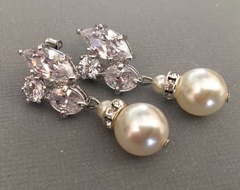 Pearl Rhinetone Earrings in Cream Ivory or White with sparkling CZ rhinestones rhodium silver setting wedding earrings mother if the bride