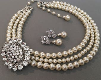 Pearl Wedding Necklace Set with Brooch 3 strands of Swarovski Pearls Cream Ivory or your choice of color silver rhinestone broach bridal wed